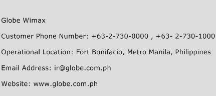 Globe Wimax Phone Number Customer Service