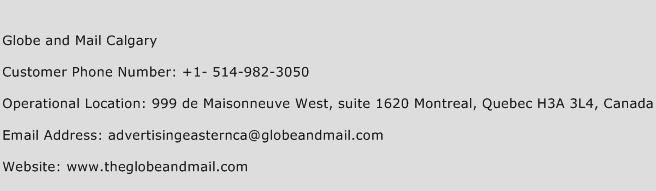 Globe and Mail Calgary Phone Number Customer Service