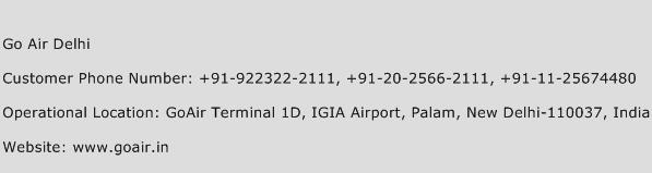 Go Air Delhi Phone Number Customer Service