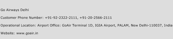 Go Airways Delhi Phone Number Customer Service