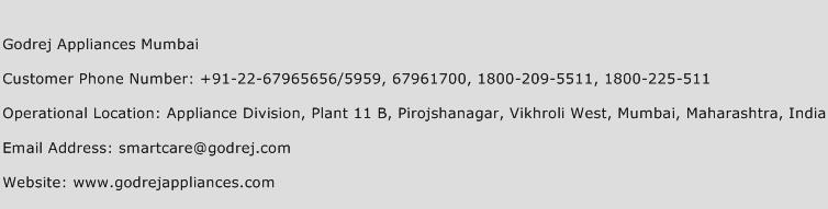 Godrej Appliances Mumbai Phone Number Customer Service