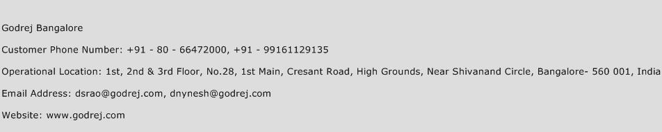 Godrej Bangalore Phone Number Customer Service