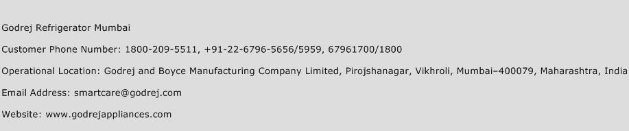 Godrej Refrigerator Mumbai Phone Number Customer Service