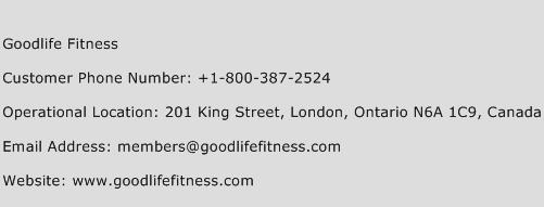 Goodlife Fitness Phone Number Customer Service