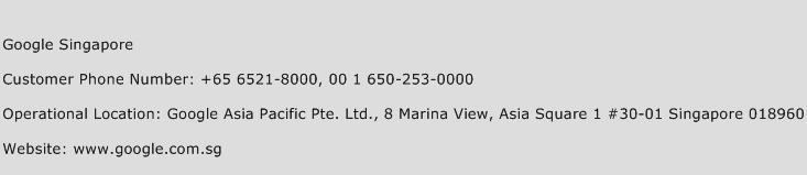 Google Singapore Phone Number Customer Service