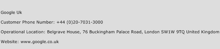 Google UK Phone Number Customer Service