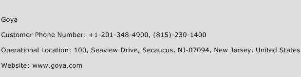 Goya Phone Number Customer Service