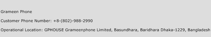 Grameen Phone Phone Number Customer Service