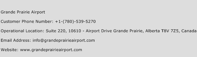 Grande Prairie Airport Phone Number Customer Service