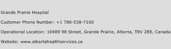 Grande Prairie Hospital Phone Number Customer Service