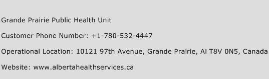 Grande Prairie Public Health Unit Phone Number Customer Service