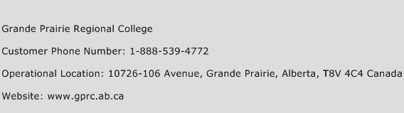 Grande Prairie Regional College Phone Number Customer Service