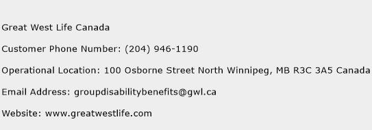 Great West Life Canada Phone Number Customer Service