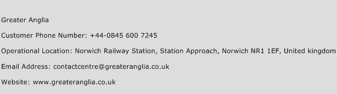 Greater Anglia Phone Number Customer Service