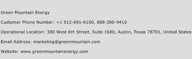 Green Mountain Energy Phone Number Customer Service