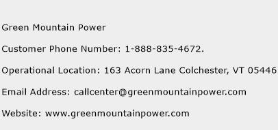 Green Mountain Power Phone Number Customer Service
