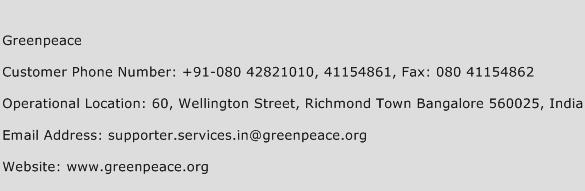 Greenpeace Phone Number Customer Service