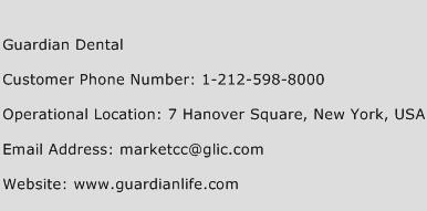 Guardian Dental Phone Number Customer Service