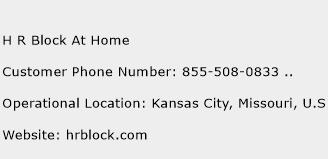 H R Block At Home Customer Service Phone Number   Contact Number ...