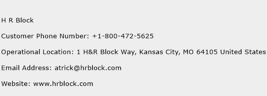 H R Block Customer Service Phone Number   (Toll Free) Contact Address