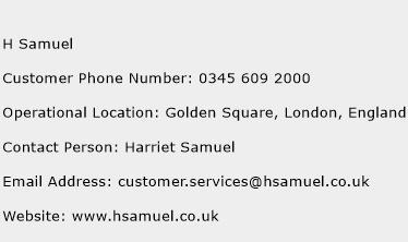 H Samuel Phone Number Customer Service