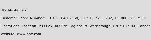 HBC Mastercard Phone Number Customer Service
