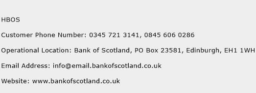 HBOS Phone Number Customer Service