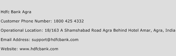 HDFC Bank Agra Phone Number Customer Service