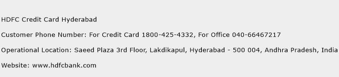 HDFC Credit Card Hyderabad Phone Number Customer Service