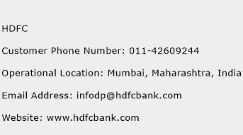 HDFC Phone Number Customer Service