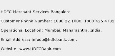 HDFC Merchant Services Bangalore Phone Number Customer Service