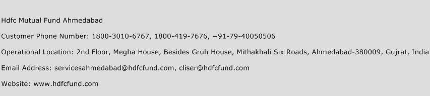 HDFC Mutual Fund Ahmedabad Phone Number Customer Service