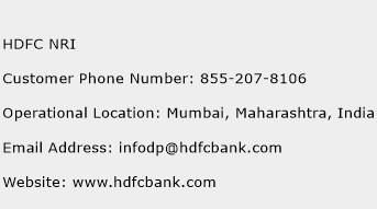 HDFC NRI Phone Number Customer Service