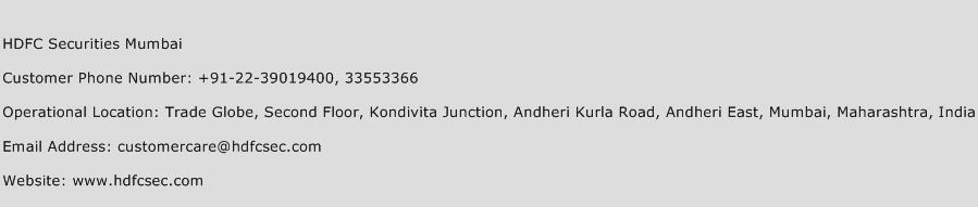HDFC Securities Mumbai Phone Number Customer Service
