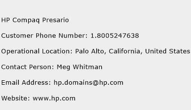 HP Compaq Presario Phone Number Customer Service