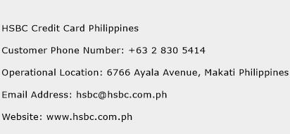 HSBC Credit Card Philippines Phone Number Customer Service
