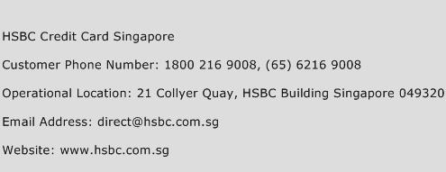 HSBC Credit Card Singapore Phone Number Customer Service