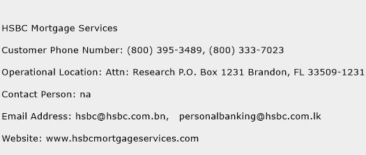 HSBC Mortgage Services Phone Number Customer Service