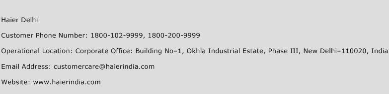 Haier Delhi Phone Number Customer Service