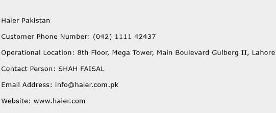 Haier Pakistan Phone Number Customer Service