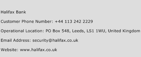 Halifax Bank Phone Number Customer Service