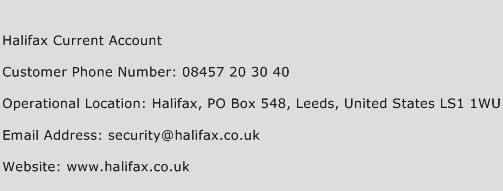Halifax Current Account Phone Number Customer Service
