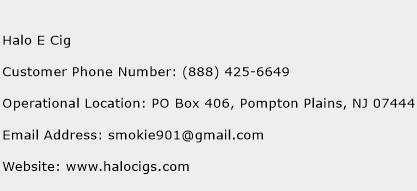 Halo E Cig Phone Number Customer Service