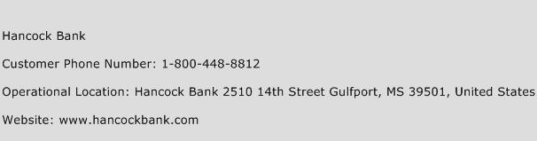 hancock bank customer service
