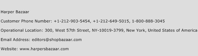 Harper Bazaar Phone Number Customer Service