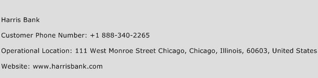 Harris Bank Phone Number Customer Service