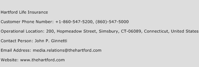 Hartford Life Insurance Phone Number Customer Service