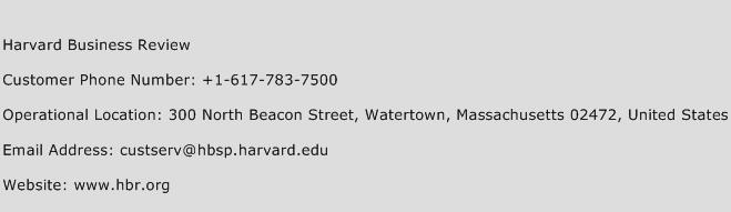 Harvard Business Review Phone Number Customer Service