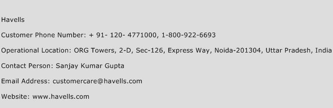 Havells Phone Number Customer Service