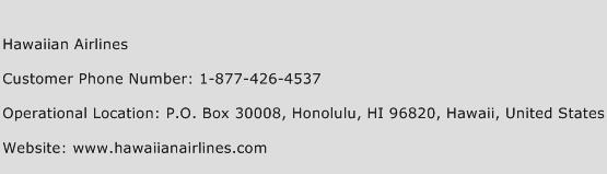 Hawaiian Airlines Phone Number Customer Service